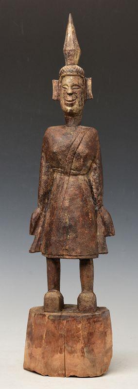 18th Century, Shan, Tai Lue Burmese Wooden Standing Buddha
