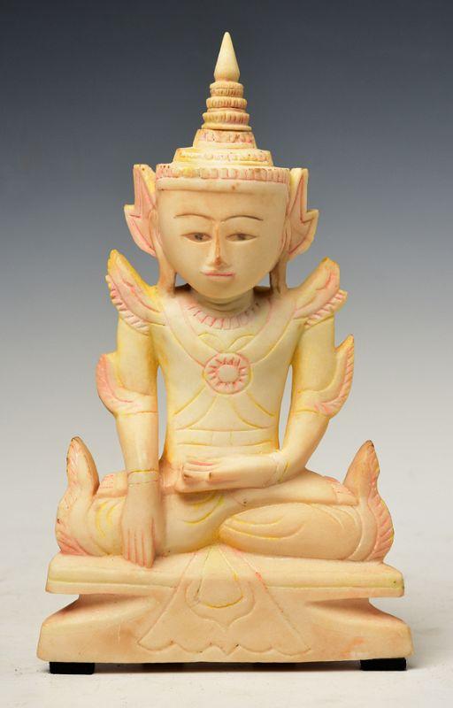 Early 19th C., Early Mandalay, Burmese Soapstone Seated Crowned Buddha