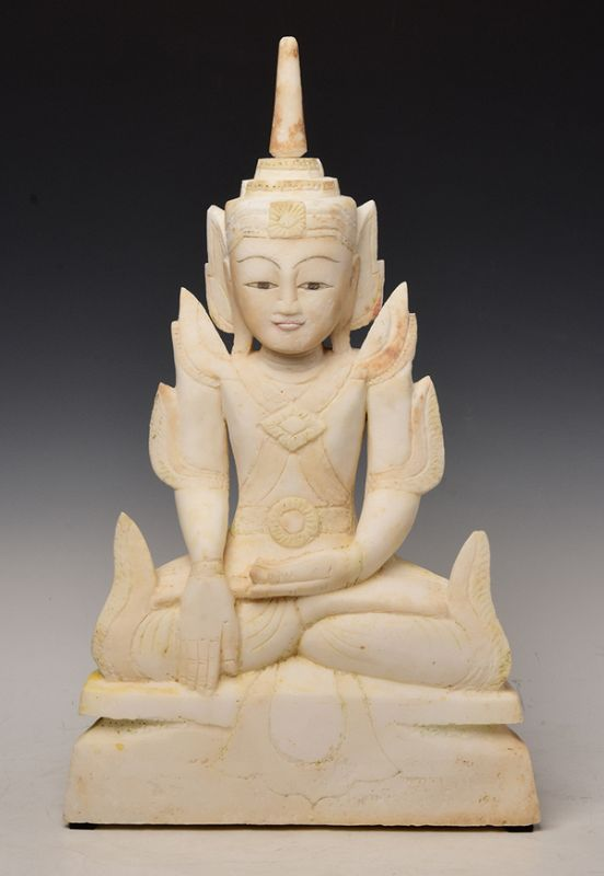Early 19th C., Early Mandalay, Burmese Soapstone Seated Crowned Buddha