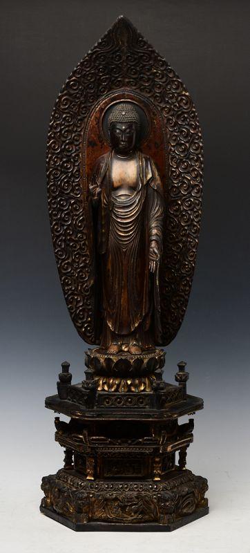 Momoyama, Japanese Wooden Standing Amida Buddha