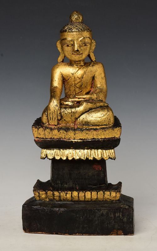 Early 19th Century, Early Mandalay, Burmese Wooden Seated Buddha