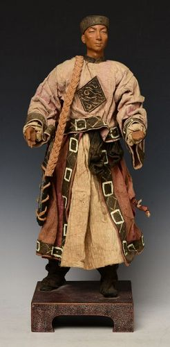 Early 20th Century, Chinese Wooden Standing Manchu Man