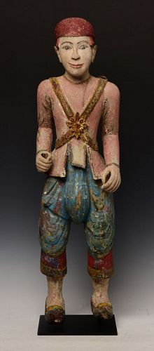 19th Century, Mandalay, Burmese Wooden Standing Figure