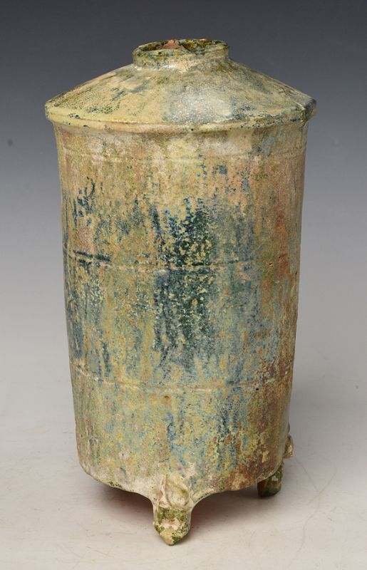 Chinese Green Glazed Pottery Granary Jar with Silvery Surface