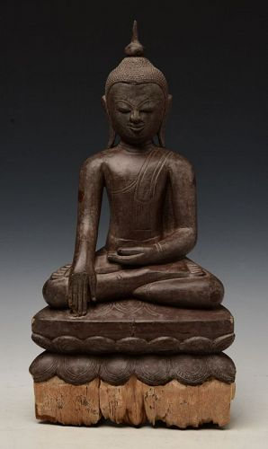 17th Century, Shan, Burmese Wooden Seated Buddha