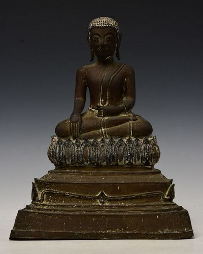 17th Century, Ayutthaya, Thai Bronze Seated Disciple