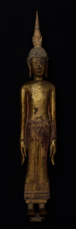 18th Century, Large and Rare Laos Wooden Standing Buddha