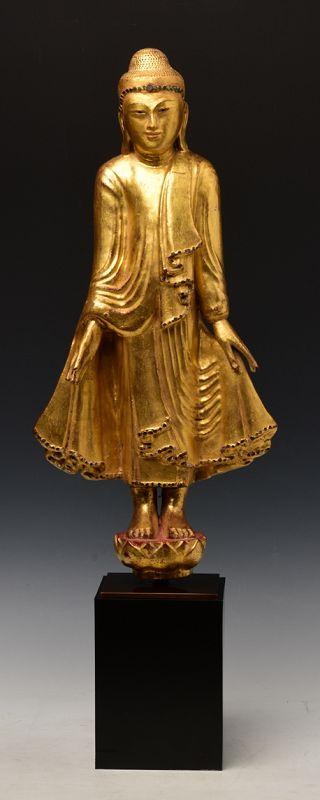 19th Century, Mandalay, Burmese Wooden Standing Buddha