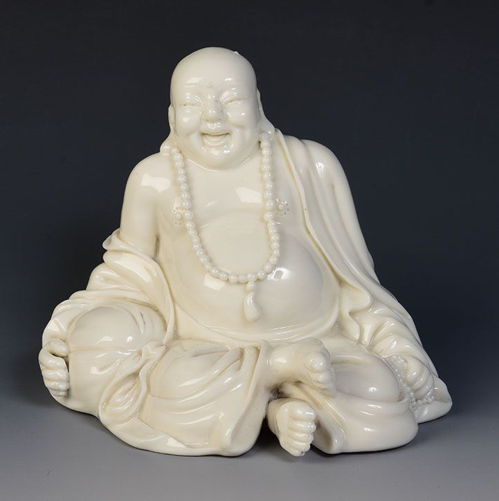 19th Century, Chinese Porcelain Blanc De Chine Laughing Buddha