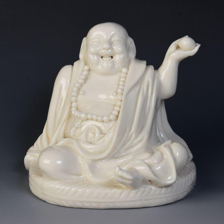 19th Century, Chinese Porcelain Blanc De Chine Laughing Buddha