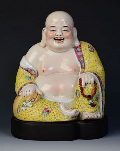 Early 20th C., Republic, Chinese Painted Porcelain Laughing Buddha