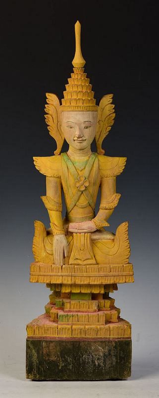 Early 19th C., Early Mandalay, Burmese Wooden Seated Crowned Buddha