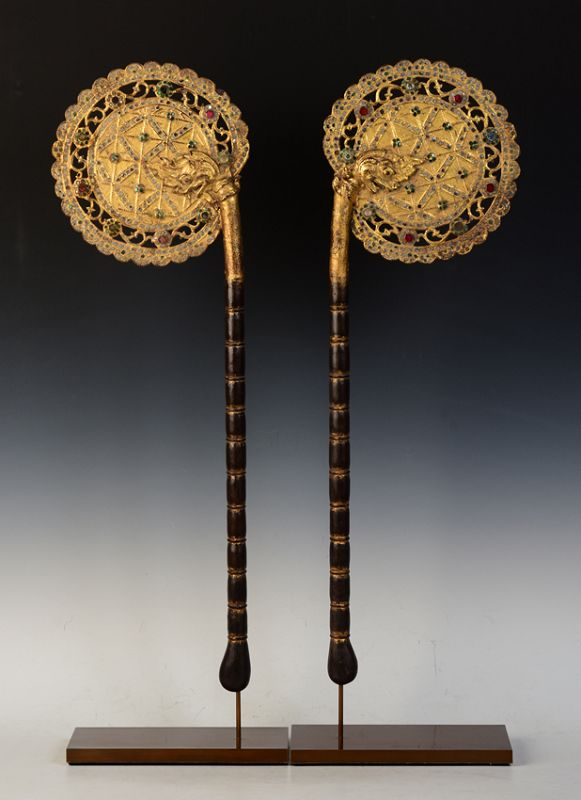 19th Century, A Pair of Burmese Wooden Fans with Gilded Gold and Glass
