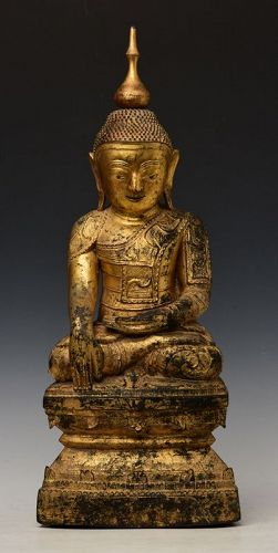 17th Century, Shan, Burmese Nong Wooden Seated Buddha