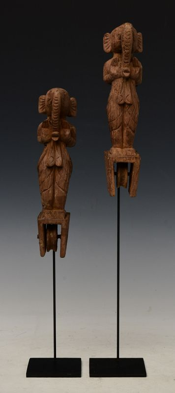 A Pair of Burmese Wooden Textile Tools in The Form of Ganesh