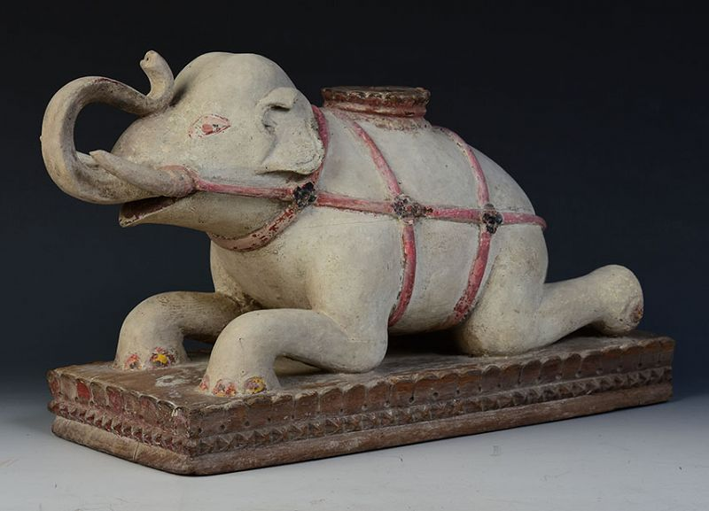 19th Century, Mandalay, Burmese Wooden Lying Elephant