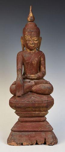 16th Century, Ava, Burmese Wooden Seated Buddha