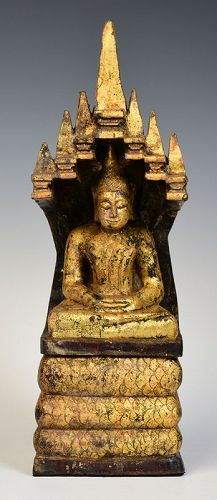 Laos Wooden Seated Buddha Protected by The Seven-Headed Naga