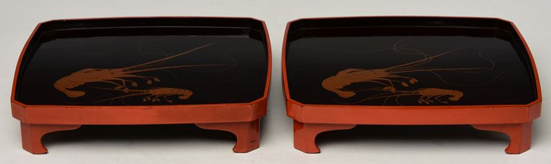 Late 20th Century, A Pair of Japanese Lacquered Trays