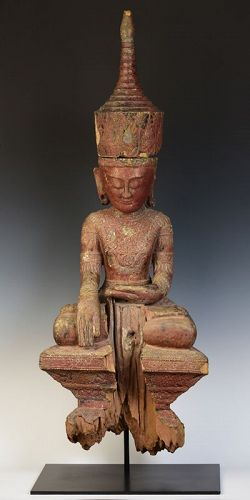 16th Century, Ava, Rare Burmese Wooden Seated Crowned Buddha