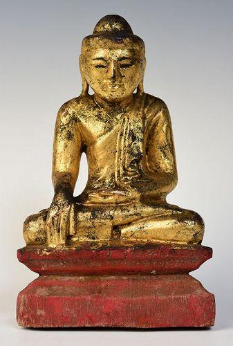 19th Century, Mandalay, Burmese Wooden Seated Buddha
