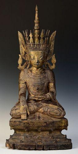 16th Century, Rare Tai Yai Burmese Wooden Seated Crowned Buddha