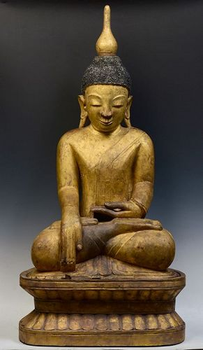 16th Century, Ava, Large Burmese Wooden Seated Buddha