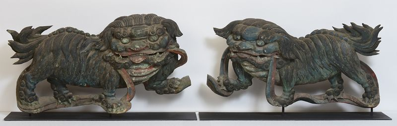 19th Century, Edo, A Pair of Japanese Wooden Lions