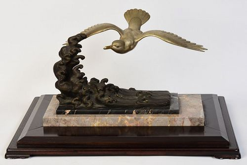 Early 20th Century, Showa, Japanese Bronze Flying Bird
