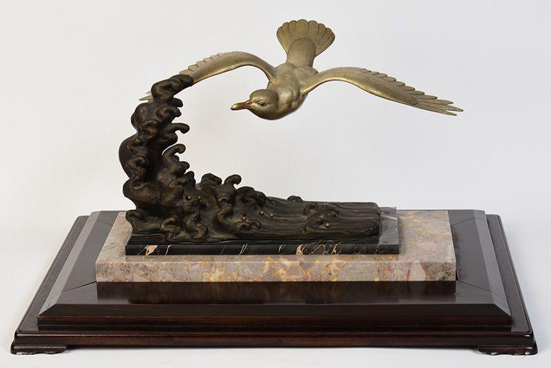 Early 20th Century, Showa, Japanese Bronze Flying Bird