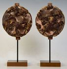 19th Century, Qing Dynasty, A Pair of Chinese Wooden Decoration