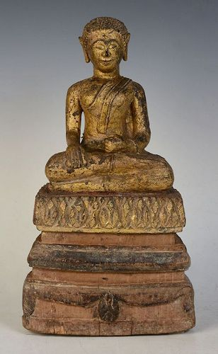 19th Century, Lanna Thai Wooden Seated Disciple