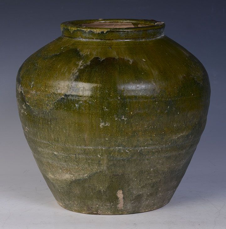 Han Dynasty, Chinese Green Glazed Pottery Jar