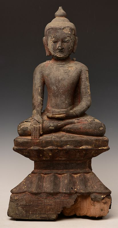 15th Century, Ava, Burmese Wooden Seated Buddha