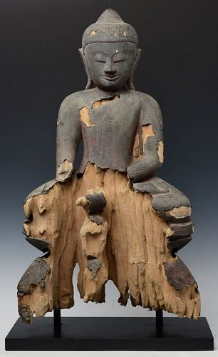 15th Century, Ava, Burmese Wooden Seated Buddha