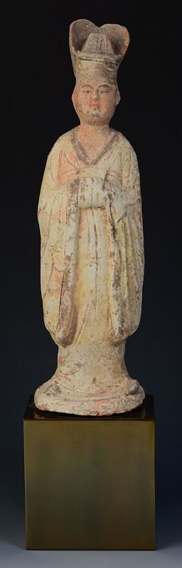 Tang Dynasty, Chinese Painted Pottery Standing Court Man