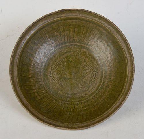 Sukhothai, Rare Sankampaeng Plate with Fish Design