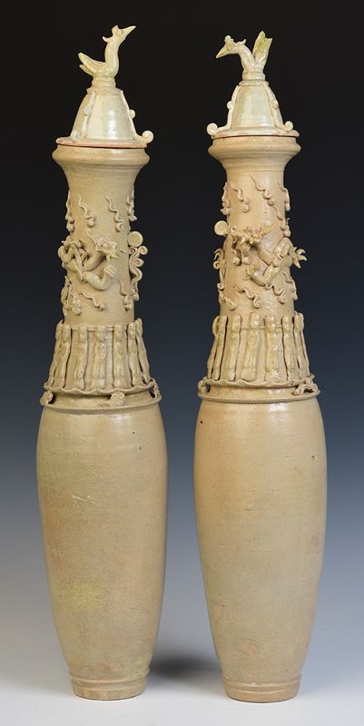 A Pair of Song Vases with Dragon and Gods Decoration