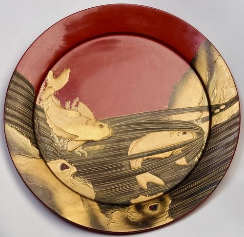 Mid-20th C., Showa, Large Japanese Wooden Tray with Carp Fish Design