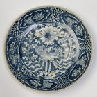 16th Century, Ming, Chinese Porcelain Swatow Blue and White Plate