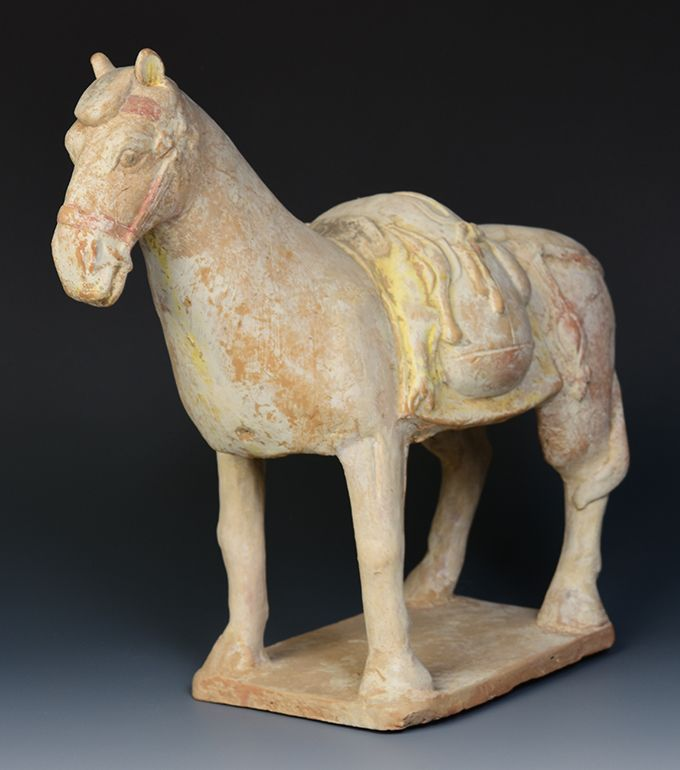 Northern Qi Dynasty, Rare Chinese Painted Pottery Standing Horse