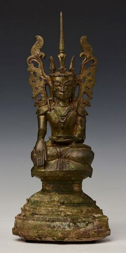 17th Century, Shan, Burmese Bronze Seated Crowned Buddha