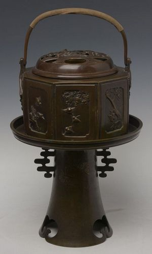 Showa, A Set of Japanese Bronze Usubata and Incense Burner