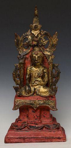 Early Mandalay, Burmese Paper Mache' Seated Buddha on The Throne