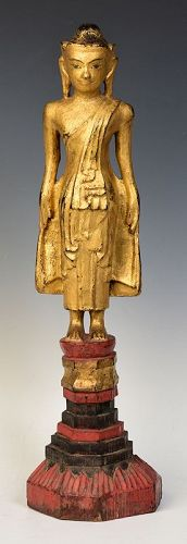 Early 19th Century, Shan, Burmese Tai Yai Wooden Standing Buddha