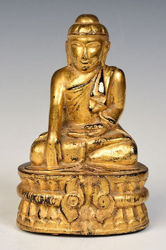 19th Century, Mandalay, Burmese Wooden Seated Lotus Buddha