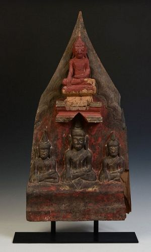 16th C., Shan, Rare Burmese Wooden Panel with A Set of Buddhas