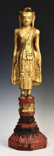 Early 19th Century, Shan, Burmese Tai Yai Wooden Standing Buddha