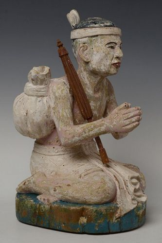 Late 19th Century, Late Mandalay, Burmese Wooden Seated Figure