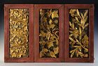 19th Century, A Set of Thai Wooden Panels with Flower Design